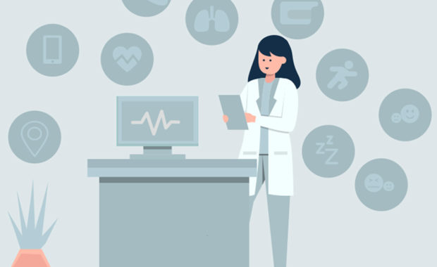 illustration of a clinician with a tablet surrounded by and health data icons
